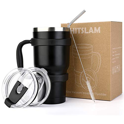 HITSLAM Tumbler 30oz Double Wall Stainless Steel Tumbler Vacuum Insulation Travel Mug for Cold Drink/Hot Beverage includes 2 Lids, Cup Handle, Straw, Cleaning Brush (Black)
