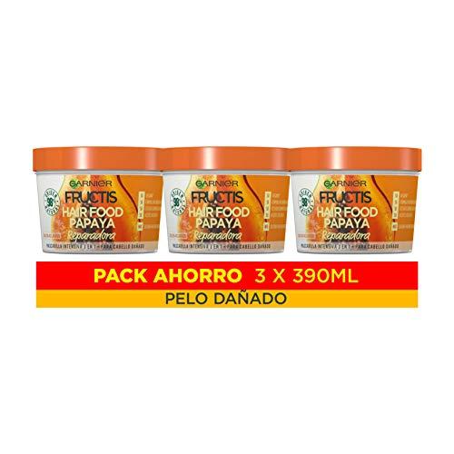 Garnier Fructis Hair Food Mascarilla 3 en 1 Papaya Reparadora, indicada para Pelo Dañado - Pack de 3 x 390 ml