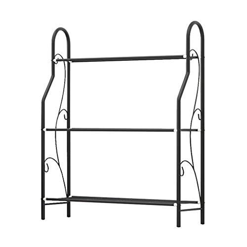 ZZYE Zapatero negro sencillo de 3 niveles, versátil, apilable, organizador de metal, para sala de estar, moderno