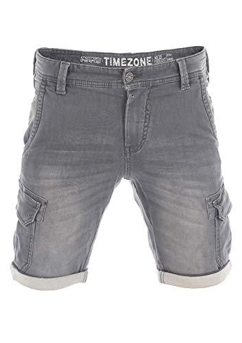 Timezone Herren Cargo Bermuda Slim StanleyTZ - Slim Fit - Grau - Aged Grey Wash W 29- W38 98% Baumwolle Stretch Denim, Größe:W 34, Farbe:Aged Grey Wash 8080