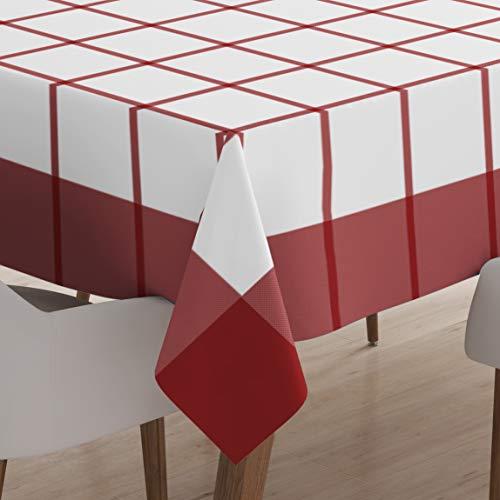 Encasa Homes Esstischdecke für 4 bis 6 Sitze Großer Esstisch in der Mitte - 142 x 240 cm, Checks Rot - Merzerisiert, waschbar, rechteckig für Heim-Hotel & Restaurant