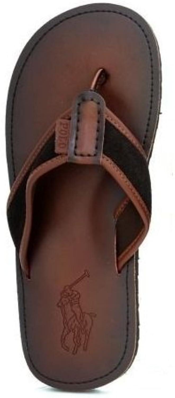 Polo Ralph Lauren Sullivan Leather Flip Flops Sandals Beach Brown