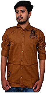 Delong DLGSVNS127 Men's Printed Regular Fit Shirt - Copper