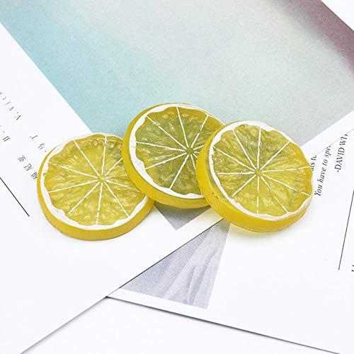 Xinger 6Pcs Kunstmatig fruit plakboek kerstversiering voor thuis geschenken doos Koelkast nep planten Citroen plakjes, 1