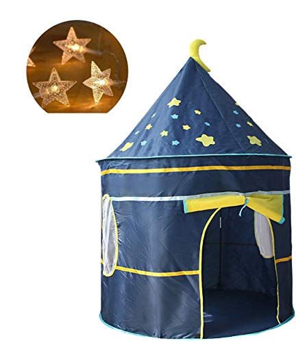EPCHOO Playhouse Play Tent For Kids, Fairy Toy Tents Kids Tent Indoor/Outdoor Palace Beach Summer Tent Camp Shelter Blue Castle Tent For Girls Boys Comes With Led String Lights