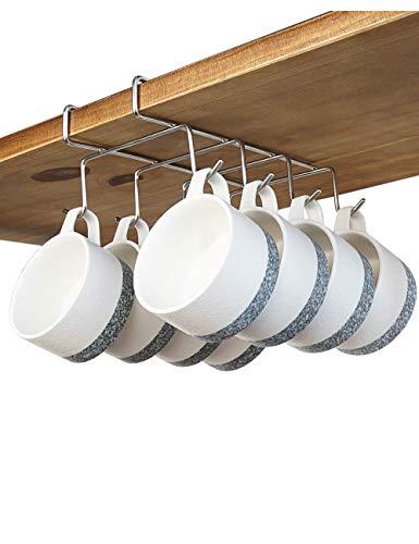 bafvt Coffee Mug Holder - 304 Stainless Steel 8 Hooks Cup Rack Under Shelf, Fit for The Cabinet 0.8 or Less