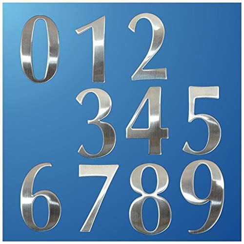 WGD Shuzi 0-9 Moderne Huis Nummers RVS Aantal Cijfers Sticker Plaat Sign, 6.2×3.5×1.9cm Deur Letters Kamer Poort Nummer, 1PC