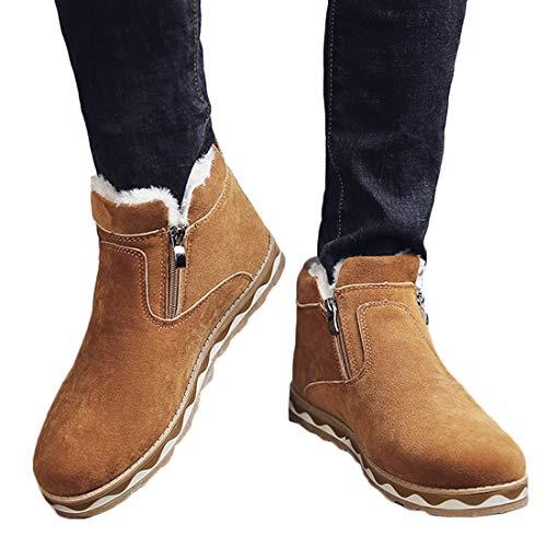 Huicai Botas de nieve para hombre invierno nuevo cálido Artificial corto felpa cálido zip bajo tacón moda popular antideslizante hombre zapatos de algodón botas cortas