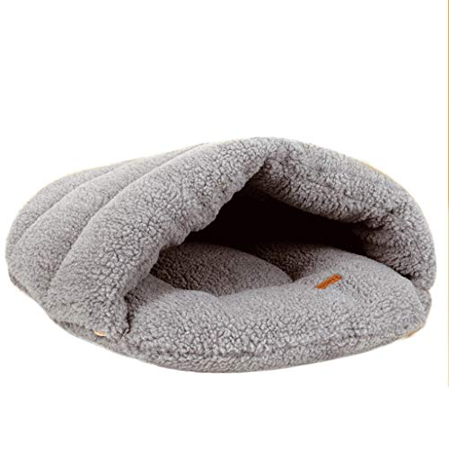 xiaofeng Pet Nest/Round Half Pack Doghouse Saco De Dormir para Gatos Cuatro Estaciones Disponibles Pet Supplies Nest (Color : Gris, Size : 60X50CM (Within 8kg))