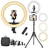 Anillo de luz LED de 18 pulgadas, 55 W, regulable, 2800 – 6000 K, trípode, mando a distancia, Bluetooth, soporte para teléfono móvil, bolsa de transporte para Titok YouTube, Make Up, Vlog Self-Porträt