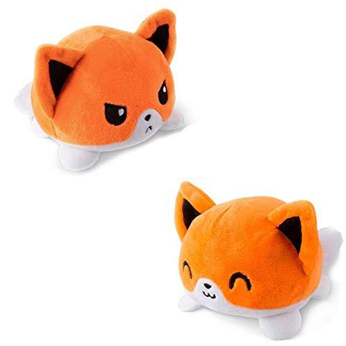 Juguete de felpa reversible, lindo gato unicornio peluche muñeca de doble cara con volteo, regalo para niños, familia, amigos (cachorro naranja)
