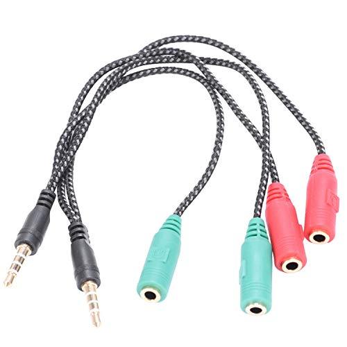 Ctzrzyt 2 Piezas Adaptador de Cable 2 en 1 Divisor 4 Polos 3.5Mm Auricular de Audio Auriculares A 2 Jack Hembra, Cable de Audio de Micrófono para Auriculares 3 Polos para Pc