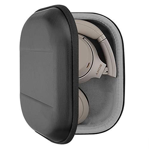 Geekria UltraShell - Funda para auriculares Sony WH-1000XM4, WH-1000XM3, WH-XB900N, funda de repuesto protectora rígida de viaje con almacenamiento de cable (poliuretano negro)