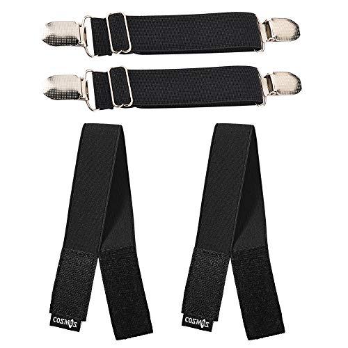 CM Elastic Boots Strap Pants Clip Leg Bands Ankle Leg Riding Puttee Bind Adjustable Stirrups for Pants Boots, 2 Sets Clip Straps and Ankle Bands