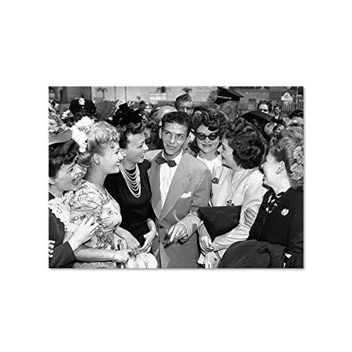FRANK SINATRA Vintage Fine Art fotografía cartel negro blanco histórico foto arte lienzo pintura pared imagen hogar habitación decoración 24x32 pulgadas 1 piezas sin marco