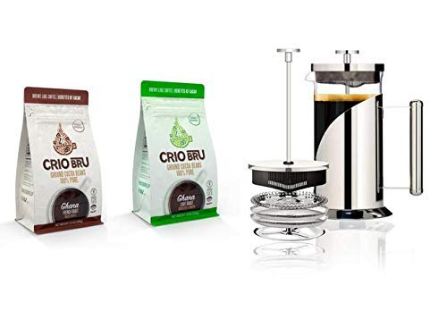 Crio Bru Welcome Starter Kit (2 10oz Bags + French Press)   Natural Healthy Brewed Cacao Drink   Great Substitute to Herbal Tea and Coffee   99% Caffeine Free   Keto Whole-30 Honest Energy