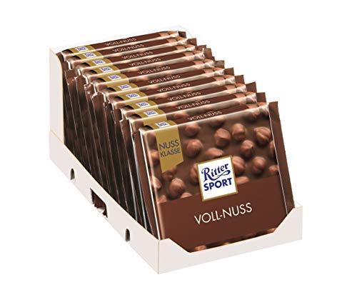 10 x Chocolade Reep Ritter Sport Melk Hele Hazelnoot 100 gram