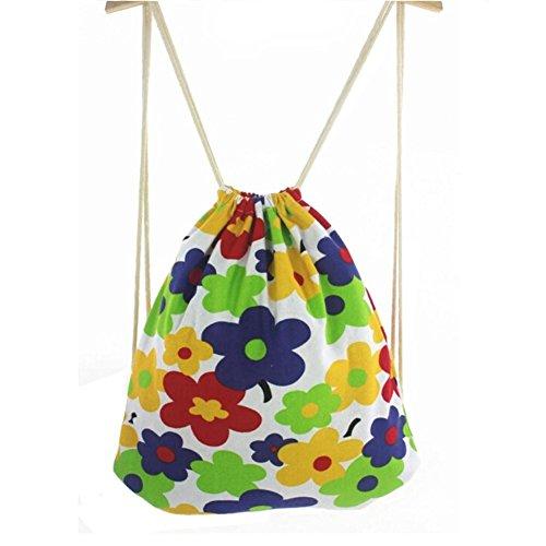 Unisexe Voyage Sport Drawstring sacs de motifs de fleurs colorées à dos en toile