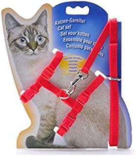 Adjustable Nylon Pet Cat Puppy Harness with Lead Leash Strap Belt Safety Rope - Red
