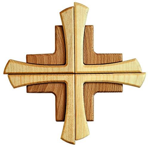 Kaltner Präsente Geschenkidee - Wandkreuz Echtes Holz Buche Kreuz Kruzifix für die Wand 16 cm modern
