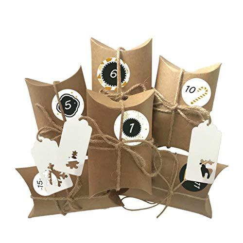 LYING Adventskalender zum Befüllen, 24 Adventskalender Boxen, mit Zahlenaufklebern, für Weihnachten zum Basteln und Verzieren, Weihnachts-Geschenktüte zum DIY