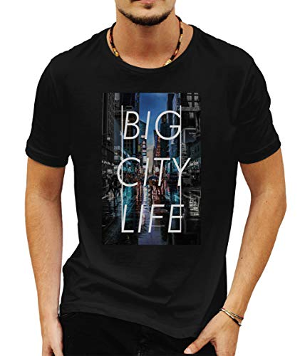 Wild Soul Tees Big City New York Nightlife - Camiseta para Hombre Negro Negro (XXL