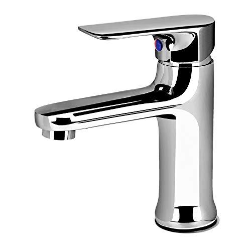Waschtischarmatur, Wasserhahn Bad Armatur mit Einhebelarmatur Wasserhahn Heißes und Kaltes Wasser für Badarmatur Waschbecken, Chrom