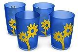 Ornamin Becher mit Anti-Rutsch Blume 220 ml natur/rot 4er-Set (Modell 820) / Trinkbecher, Pflege-Becher, Kinderbecher -