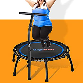 """Raybee Mini Trampoline 40"""" Exercise Trampoline for Adults Leg Foldable Rebounder Trampoline with Adjustable Bar Small Bungee Fitness Trampoline Quiet Adult Trampoline for Indoor Outdoor Max 330lbs"""