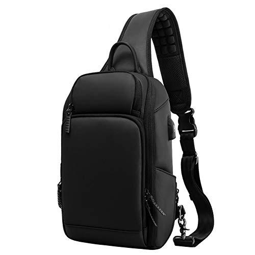 ボディーバッグ ワンショルダーバック 斜めかけバッグ ショルダーバッグ 大容量 多機能 防水 iPad収納可能 USBポート付き 軽量 学生 通学 通勤 旅行 アウトドア おしゃれ 耐久性が強い メンズ 誕生日 ブラック OUAMEI 2019 最新版サイズ1