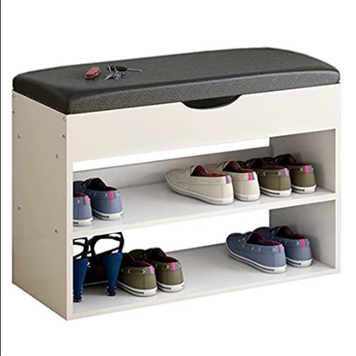 Zapatero para zapatos simple para el hogar, de piel sintética, con parte superior, banco largo para zapatos de entrada, organizador de almacenamiento de zapatos (color: blanco, tamaño: L)