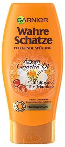 GARNIER Wahre Schätze Spülung / Conditioner für intensive Haarpflege / Für mehr Geschmeidigkeit (mit Arganöl & Cameliaöl - für trockenes Haar - ohne Parabene) 1 x 200ml