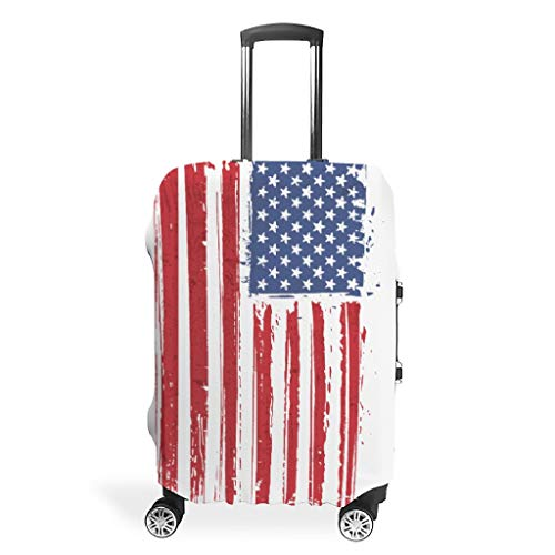 Flag Outdoor Nature Hiking Various Patterns Travel Suitcase Protector Zipper Suitcase Cover Anti-Scratch 18 to 32 Inch for Carry On Luggage White s (49x70cm)