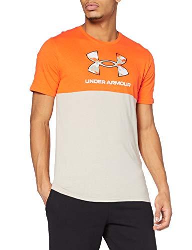 Under Armour Camo Big Logo Short-Sleeve Camisa Manga Corta, Hombre, Vibe Orange/Highland Buff (850), MD