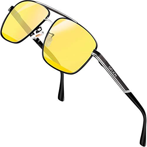 SIPLION Gafas de sol Hombre Polarizadas Gafas de sol para Hombre rectangulares 1823Amarillo