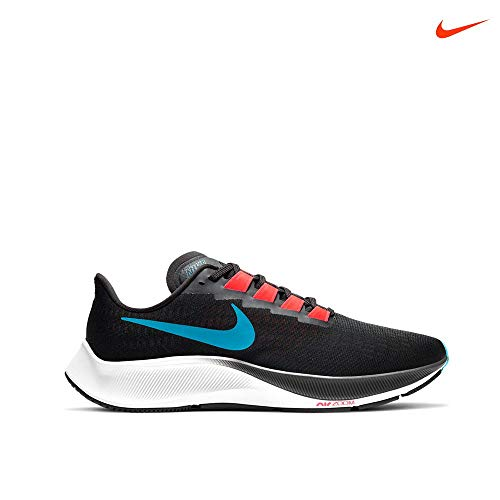 Nike Air Zoom Pegasus 37, Zapatillas para Correr Hombre, Off Noir Lt Blue Fury BRT Crimson Black White, 43 EU