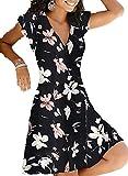 SLYZ Señoras del Verano Más El Vestido De Las Mujeres del Jersey del Cuello En V De La Cintura De La Impresión del Tamaño