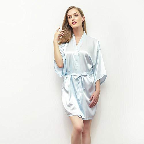 ASADVE Pijamas Mini Bata Kimono Albornoz Boda Novia Dama de Honor Pijama Vestido rayón camisón-Azul Claro_L