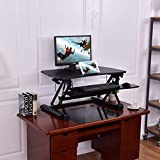 Wenst'sKufAN Height Adjustable Standing Desk-Computer Workstation Home Office with Keyboard Tray Elevating Desktop Workstation for Dual Monitor, Black