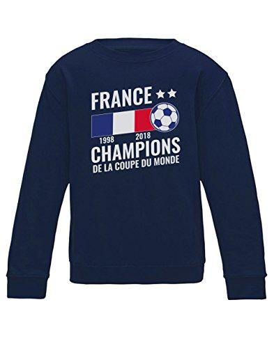 Green Turtle T-Shirts France Vainqueur Coupe du Monde de Football 2018 Sweatshirt Enfant 7/8 Ans 122/128cm Marine