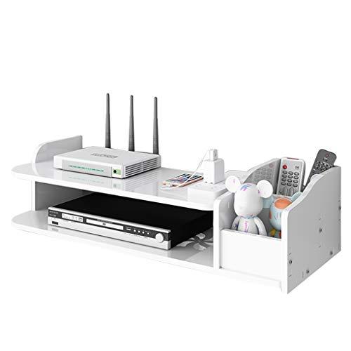 Rack De Enrutador Caja De Almacenamiento De Enrutador De Doble Capa Caja De Almacenamiento Superior De TV Montaje En Pared (Color : Blanco, Size : 39.5 * 19.5 * 12.5CM)