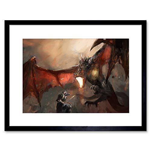 The Art Stop Painting Illustration Fantasy Dragon Slayer Battle Cool Framed Print F12X4729