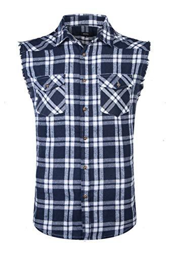 "Herren à""rmelloses Kariertes Oversize Hemd Freizeithemd Sleeveless Shirt, Marine, 3XL"