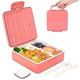 Bento Box, VOLUEX 1300 ML Bento Lunch Box mit 4 Fächern Auslaufsichere Brotdose für Kinder und Erwachsene, inkl. Besteck & 90ML Joghurtglas, Pink
