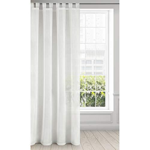 Eurofirany Lucy, tenda liscia trasparente con passanti 140 x 250 cm, trasparente di alta qualità, per camera da letto, soggiorno, elegante, 100% poliestere, crema, 140 x 250 cm
