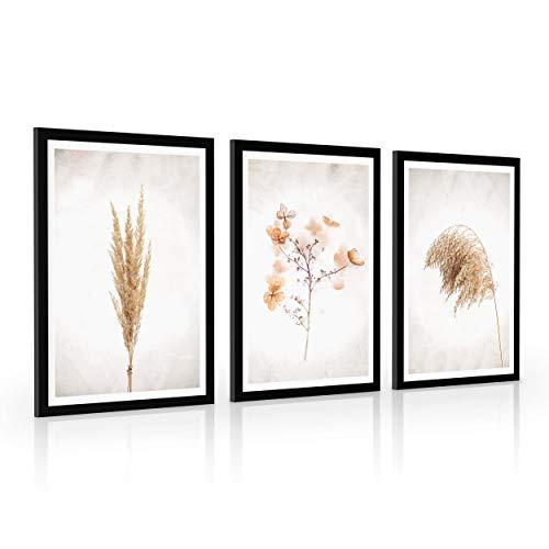 4dekor Bilder set mit rahmen, Wählen größe (3x A2 oder 3x A3) und farbe des rahmens (4 Farben), Bilder wohnzimmer oder schlafzimmer, Moderne deko poster set   Pampasgras