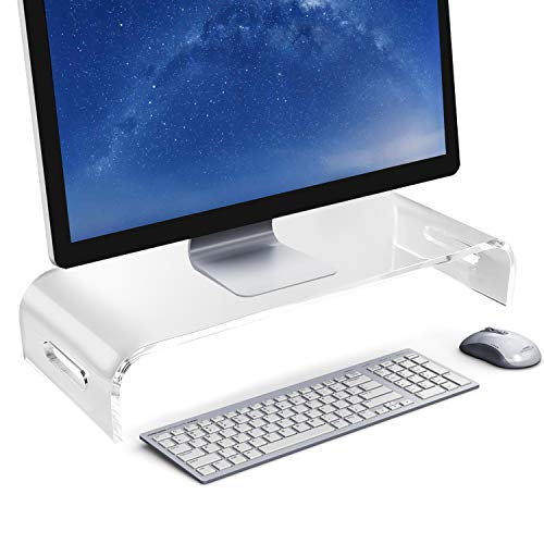 Acrylic Monitor Stand, Clear Laptop Computer Monitor Riser with Keyboard Organizer Drawer for Office Home Desktop