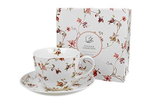 Duo Jumbotasse und Untertasse Safa 470ml Riesentasse Unterteller große Kaffeetasse Kaffee-Tasse Jumbo-Tasse Riesen-Tasse Unter-Tasse Art Porzellan Unter-Teller Blumenmotiv Blumen