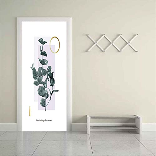CUUDBP 3D Etiqueta De La Puerta Mural Puerta Fondo Pintura De Plantas Verdes PVC Poster Art Moderno Hogar Decoración Autoadhesivo Impermeable Puerta Pegatina para Dormitorio Sala De Baño 77X200Cm