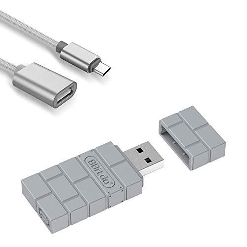 AKNES 8BitDo Adattatore Bluetooth Senza Fili per PS5, Compatibile con Switch, Windows, Mac, Android TV Box, Raspberry Pi e Retrofreak, USB Wireless Adapter con Cavo OTG - Grigio